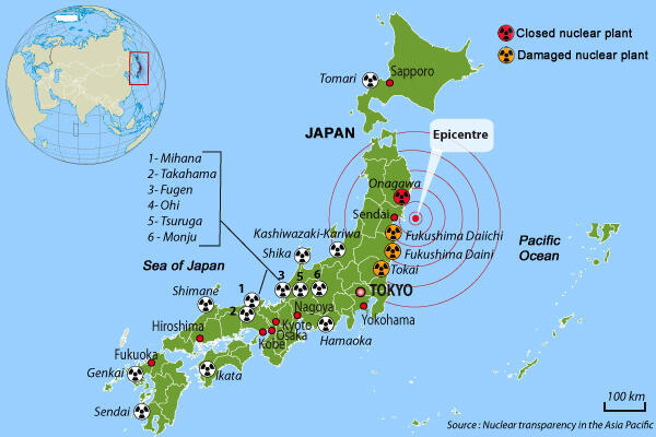 Map: Nuclear plants in Japan