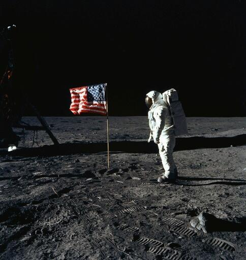 US astronaut Buzz Aldrin on the Moon on July 20, 1969 -- NASA is now trying to speed up the timetable for putting astronauts back on the Moon