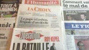 Primeiras páginas dos diários franceses 15/04/2016