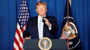 Donald Trump lors d'une allocution suite de la frappe aérienne militaire contre le général iranien Qassem Soleimani à Bagdad, en Irak, à West Palm Beach, en Floride, aux États-Unis, le 3 janvier 2020.