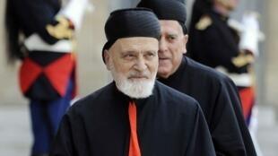 存檔圖片:天主教馬龍派Sfeir蒙席 2010年 Image d'archive: L'ancien patriarche de l'Eglise maronite et cardinal Nasrallah Sfeir, en 2010.