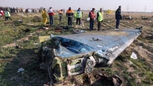 Débris du Boeing 737-800 ukrainien abattu par les forces armées iraniennes le 8 janvier 2020.