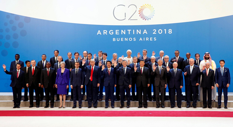 Shugabannin kasashen kungiyar G20 dake taro a Buenos Aires, babban birnin Argentina. 30/11/2018.