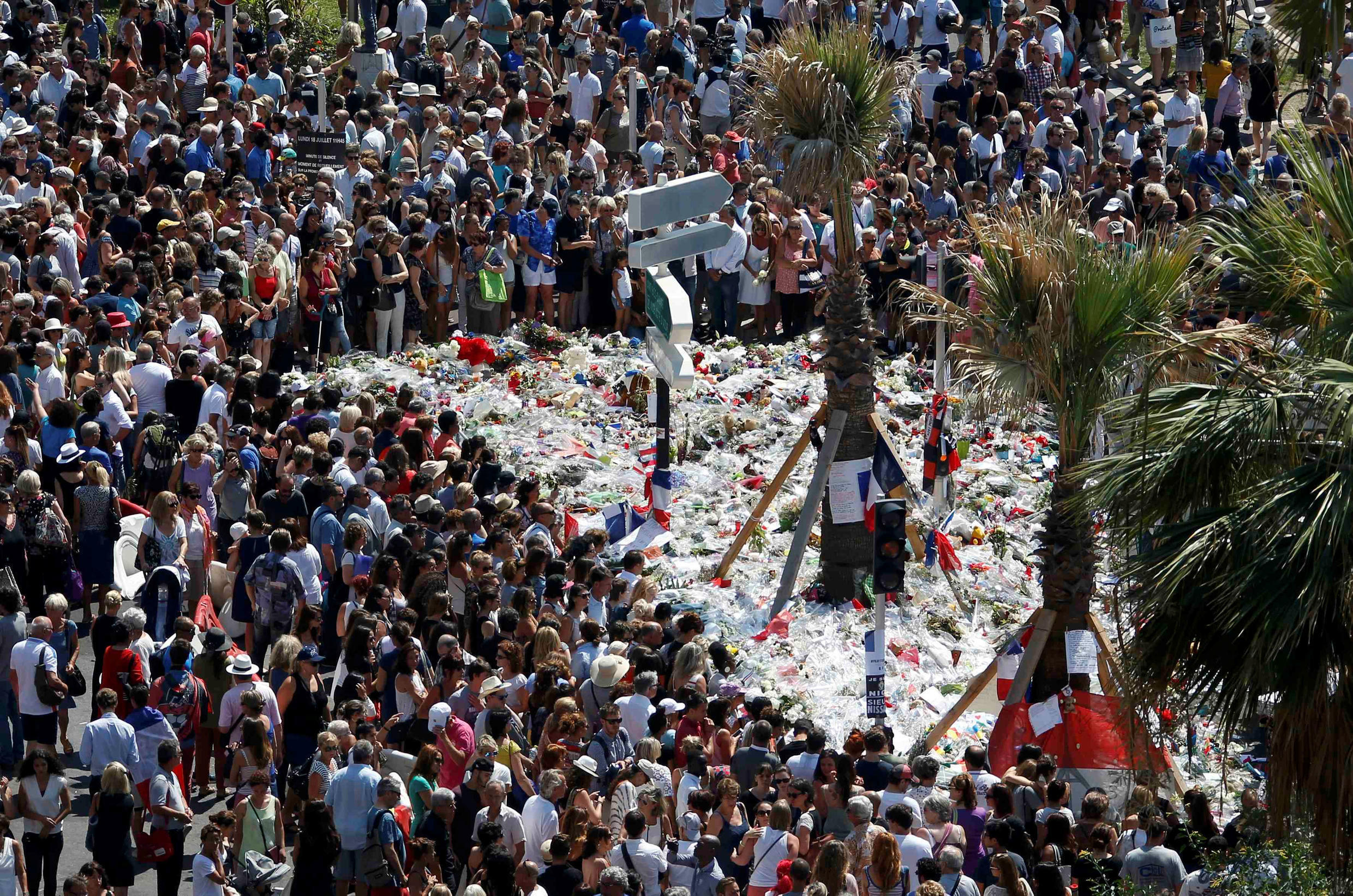 Monday's tribute to the victims on the Promenade des Anglais in Nice