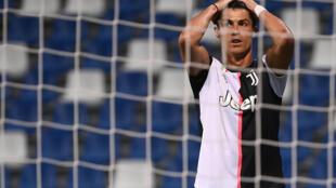 L'attaquant de la Juventus Cristiano Ronaldo lors du match contre Sassuolo le 15 juillet 2020 à Reggio d'Emilie