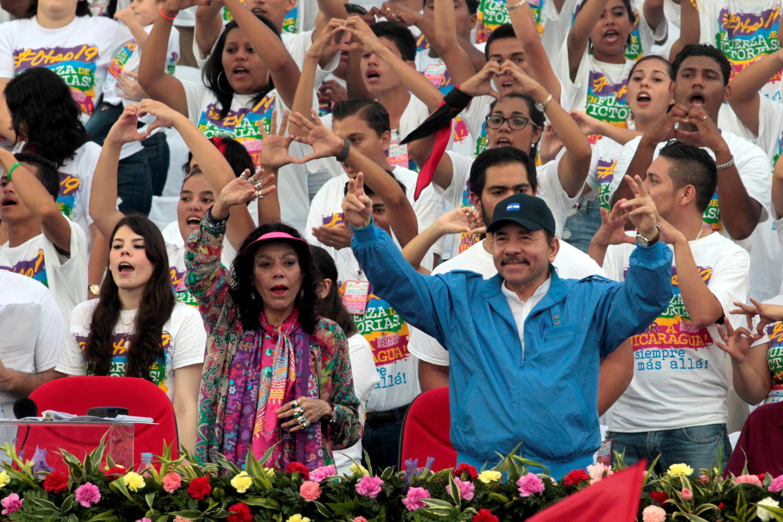 Le Président du Nicaragua Daniel Ortega et la Vice-présidente Rosario Murillo, son épouse à Managua en 2016.