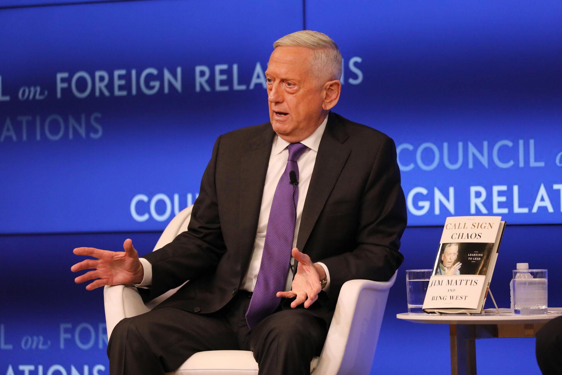 L'ancien secrétaire américaine à la défense James Mattis lors d'un débat à New York, le 3 septembre 2019.