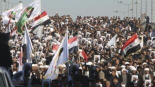 Manifestação no Iraque contra a execução do líder xiita Nimr Baqer al-Nimr pela Arábia Saudita