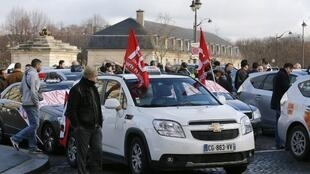Paris taxi drivers protest against Uber in January