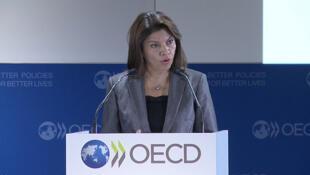 La presidenta Laura Chinchilla en su intervención en el Foro de la OCDE