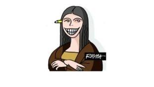 Rayma Suprani, autocaricaturizada.