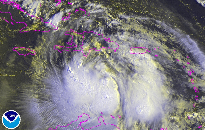 Imagem de satélite da tempestade Isaac, que chega nesta sexta-feira ao Haiti e à República Dominicana.