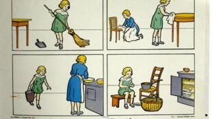 Apprentissage du ménage, années 1950 en France.