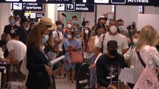 A l'aéroport de Rome Fiumicino, en Italie, le 16 août 2020.