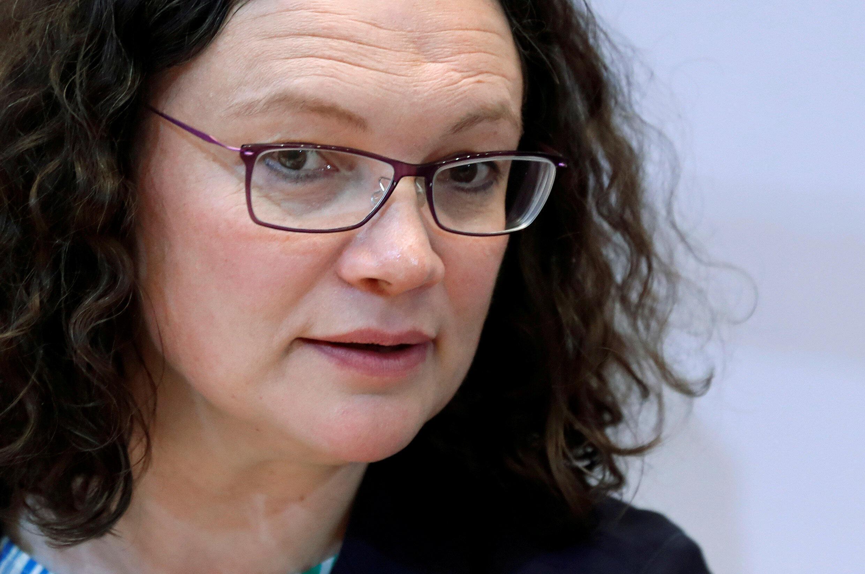 A presidente do SPD, Andrea Nahles, anunciou sua demissão neste domingo, 2 de junho de 2019, em Berlim.
