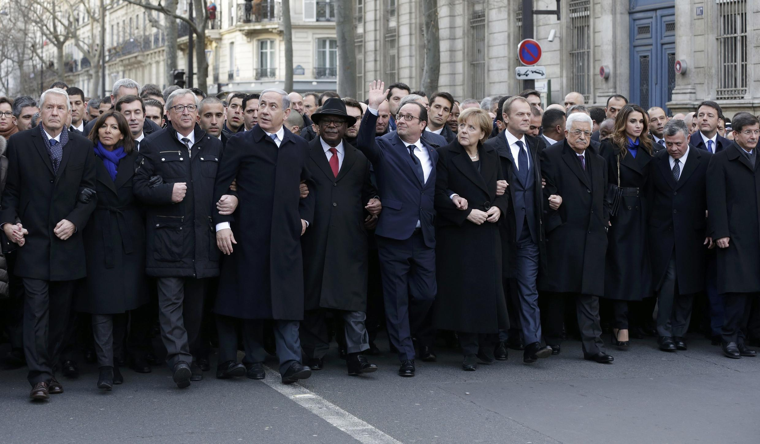 Dozens of world leaders join in the demonstration on the streets of Paris.