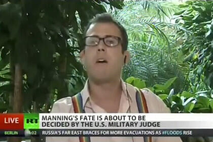 Журналист из США Джеймс Керчик в эфире телеканала Russia Today 21 августа 2013.