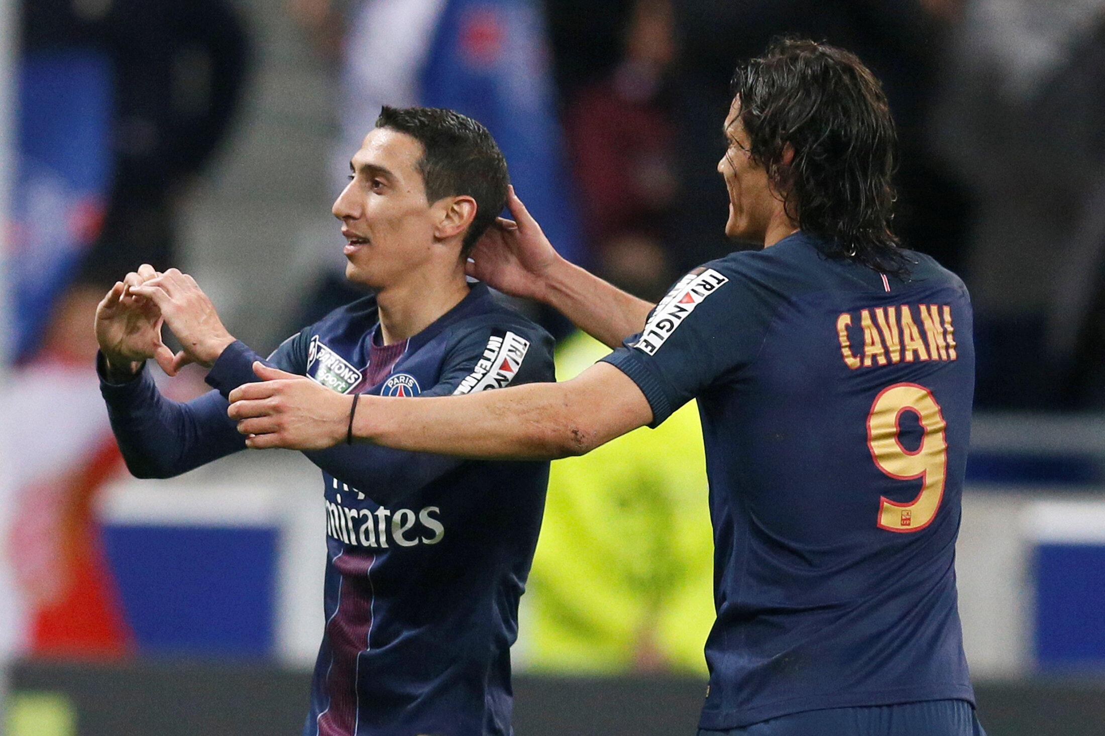 O atacante Di Maria,comemora com Cavani seu gol, o segundo do PSG  na final contra o Mônaco neste sábado, 01/04/17..