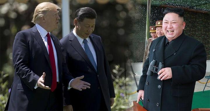 中美朝三國領導人習近平、特郎普、金正恩資料圖片