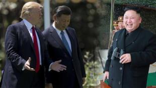 中美朝三国领导人习近平、特郎普、金正恩资料图片