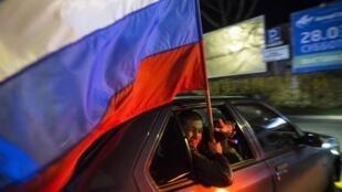 Lors des célébrations de l'anniversaire de l'annexion de la Crimée par la Russie, le 18 mars 2015.