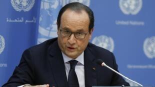 法國總統奧朗德,9月24日,在聯大會議上。