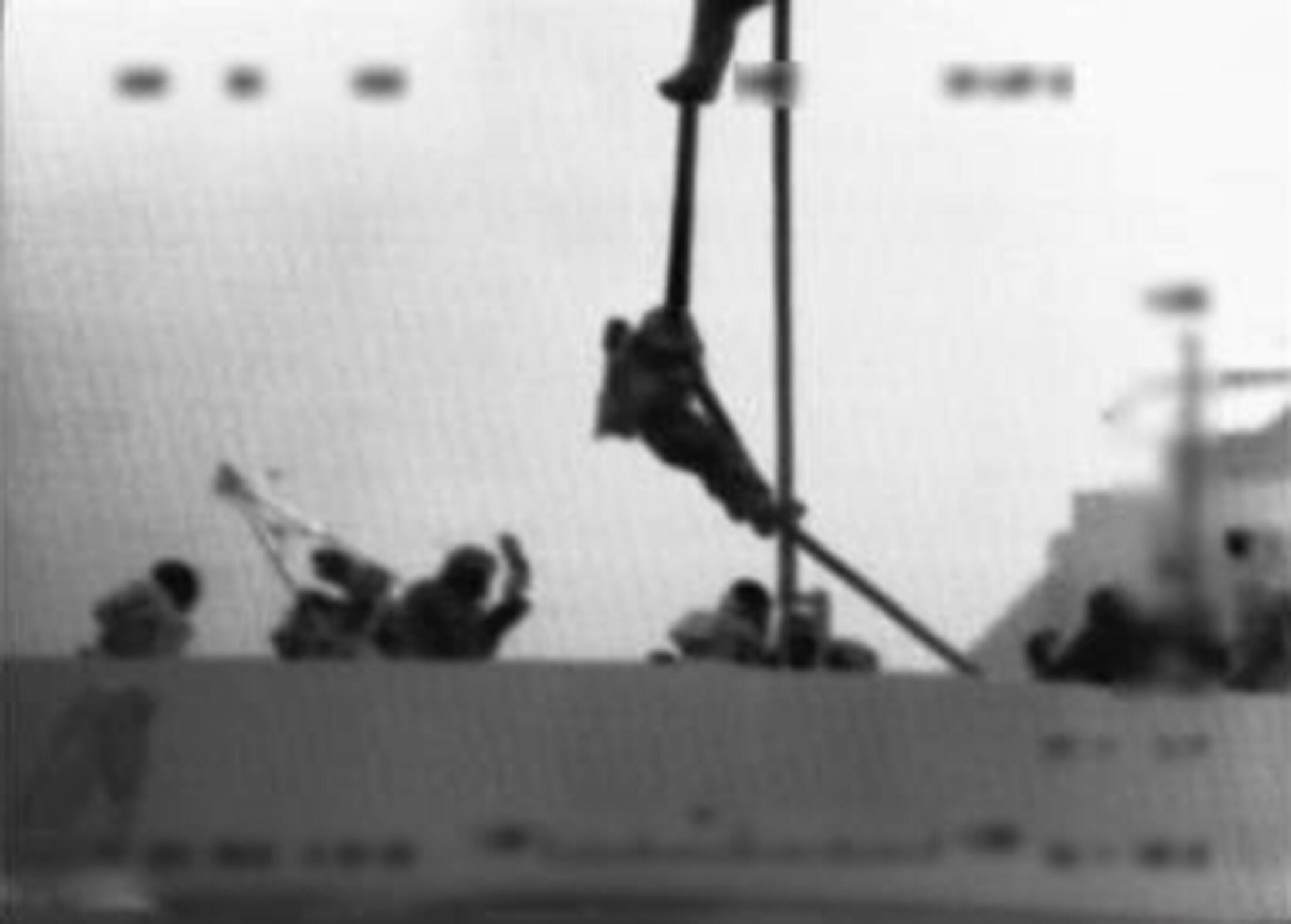 A still from footage capturing the the raid on the Turkish vessel Mavi Marmara in May 2010