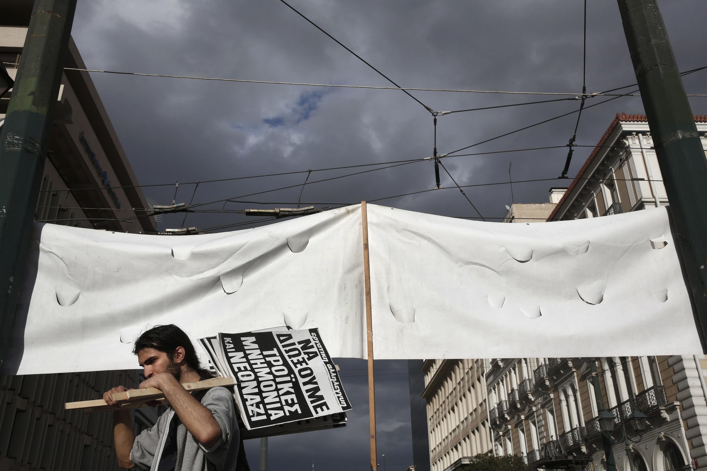 Manifestation contre les mesures d'austérité en Grèce, en mars 2013.