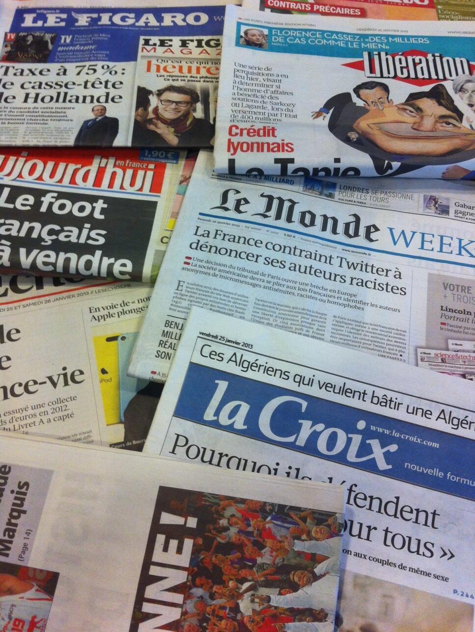 Capas dos diários franceses do dia 25 de Janeiro de 2013