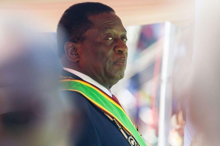 Emmerson Mnangagwa, lors de la cérémonie d'investiture à Harare, le 26 août 2018.016.