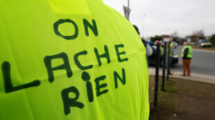 Protesters wearing yellow vests occupy a roundabout in Sainte-Eulalie near Bordeaux