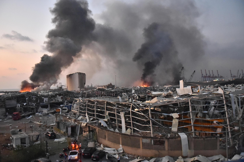دو انبار نگهداری مهمات در بندر بیروت که در پی دو انفجار پیاپی فروریخته و ویران شد ـ ٤ اوت ٢٠٢٠/ ١٤ مرداد ١٣٩٩