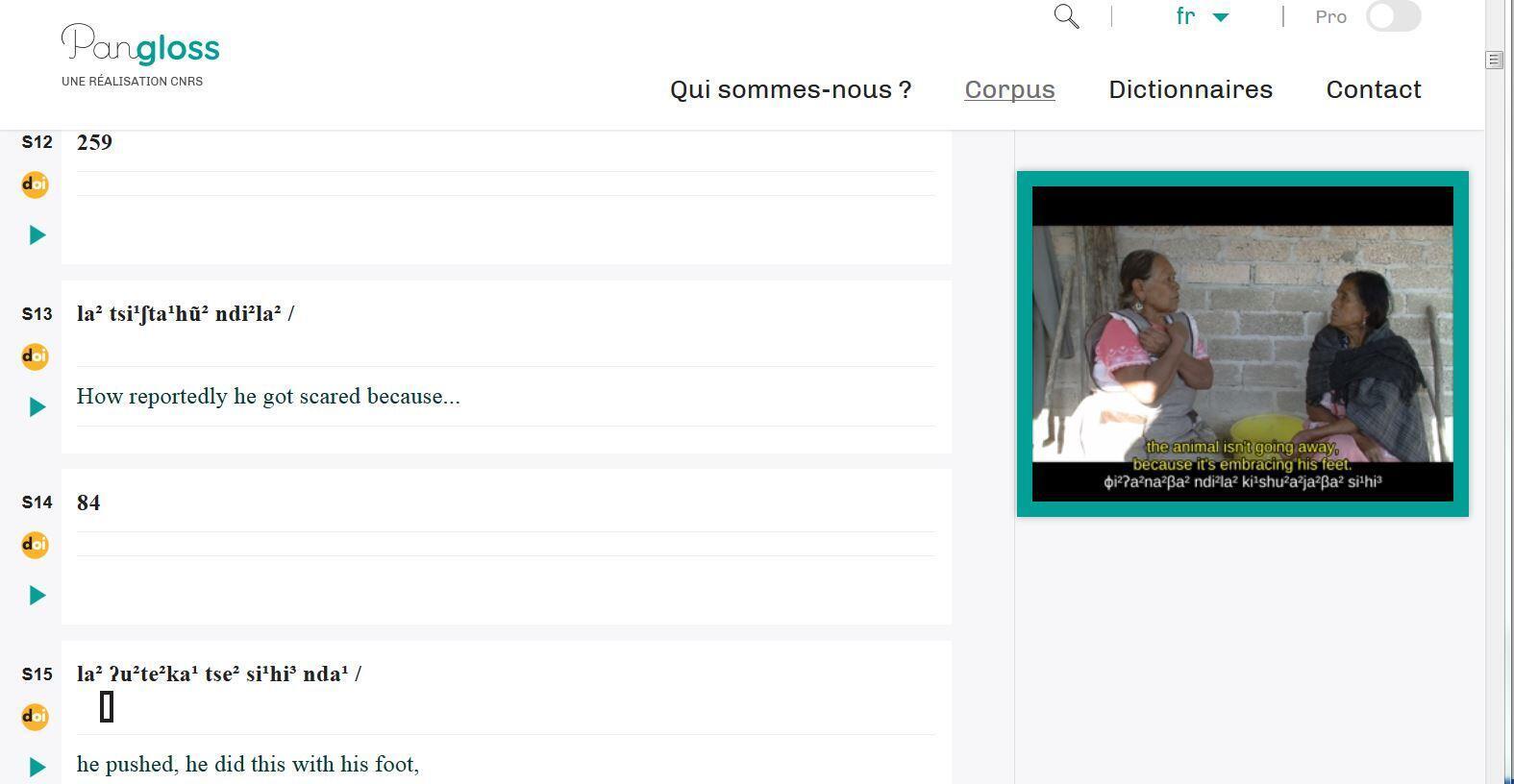 El sitio internet de Pangloss permite ver videos y las transcripciones simultáneas de las lenguas.