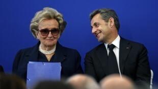 L'ancien président français Nicolas Sarkozy et Bernadette Chirac, assistent à l'inauguration de l'Institut Claude Pompidou, un nouveau centre de soins et de recherche sur la maladie d'Alzheimer, à Nice.