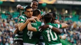 Festejos dos jogadores do Sporting CP.