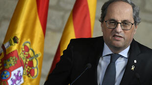 Quim Torra da una rueda de prensa tras reunirse con el presidente del Gobierno español, Pedro Sánchez, el 6 de febrero de 2020 en la sede de la presidencia catalana, en Barcelona