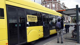 A free bus in northern city of Dunkerque.