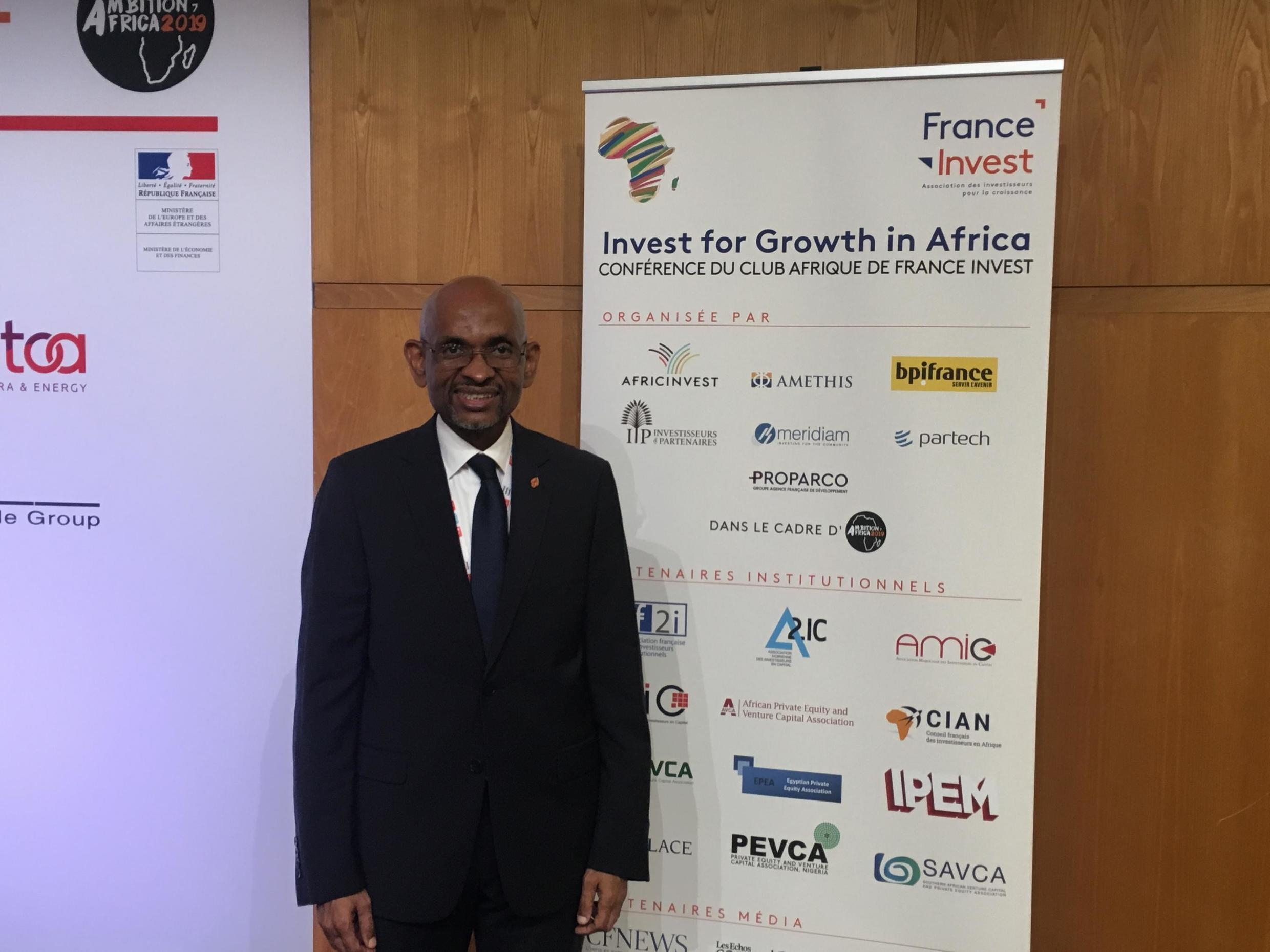 Mossadeck Bally, CEO of Azalai Hotels takes part in the second edition of the Ambition Africa forum at the French finance ministry, 30 October 2019