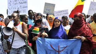 Manifestation de femmes, le 2 mai à Bamako, demandant la «libération» de Ménaka.