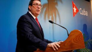 Le ministre cubain des Affaires étrangères, Bruno Rodriguez, prend la parole lors d'une conférence de presse à La Havane, à Cuba, le 19 février 2019.