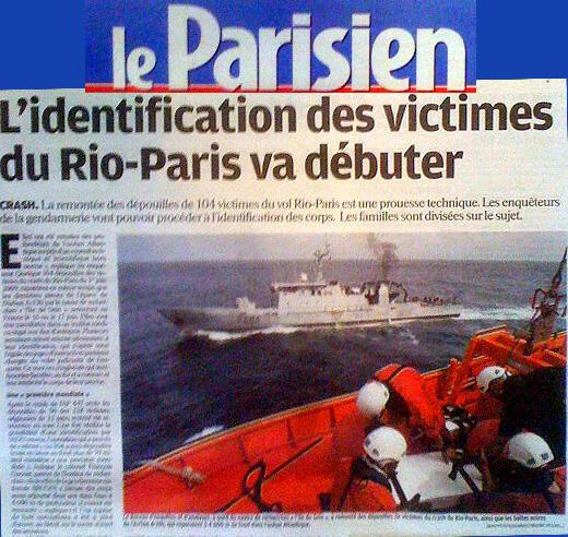 Artigo do jornal Le Parisien sobre o voo AF447