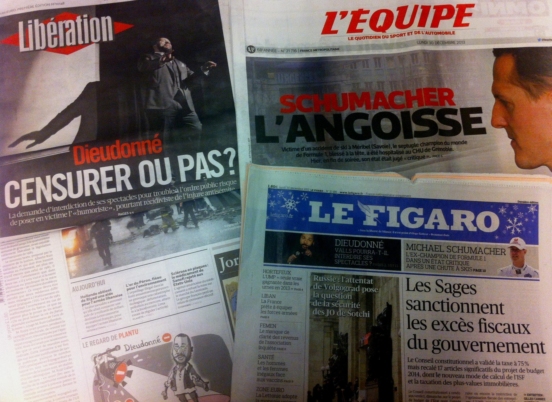Capas dos diários de 30 de Dezembro de 2013