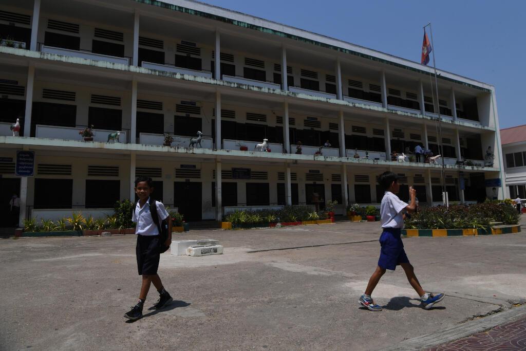 Une école primaire à Phnom Penh le 14 mars 2020 après que le gouvernement cambodgien a annoncé la fermeture des institutions scolaires en raison de l'épidémie de Covid-19.