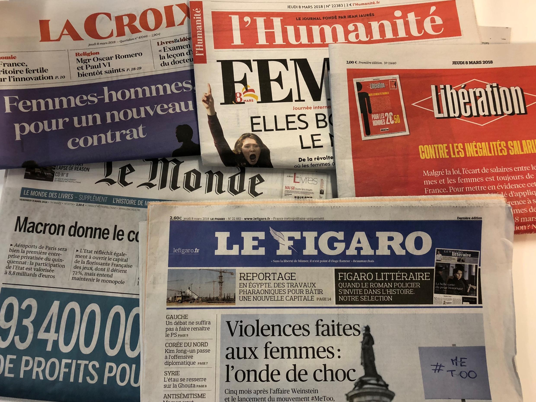 Primeiras páginas dos jornais franceses de 08 de março de 2018