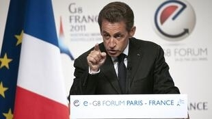 President Nicolas Sarkozy addresses the eG8 forum in Paris