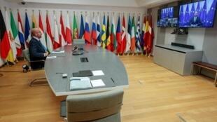Le président de la Conseil européen participe au sommet des Vingt-Sept, organisé en visioconférence, sur la situation en Biélorussie, le 19 août 2020.