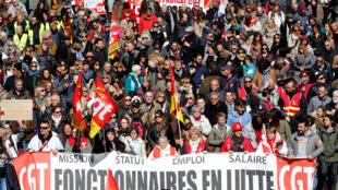 Movilización contra las reformas laborales de Macron, en Marsella, Francia, el 22 de marzo de 2018.