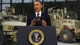 O presidente americano, Barack Obama, durante discurso na base aérea de Bagram, em Cabul, nesta quarta-feira.