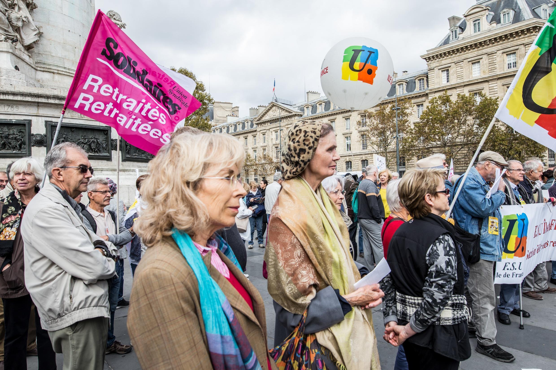 Les retraités s'étaient déjà rassemblés, le 3 octobre 2018, place de la République à Paris à l'appel de neuf organisations pour manifester contre la faible revalorisation de leurs pensions.