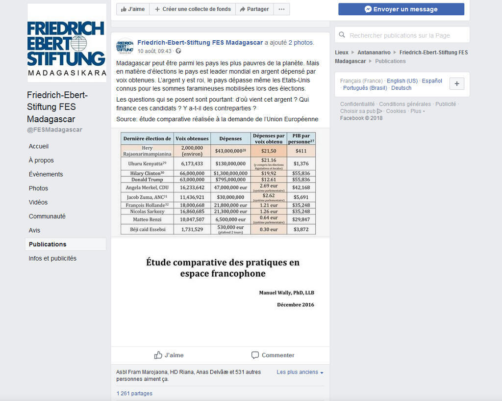 Capture d'écran du post facebook de la fondation Friedrich-Ebert, à l'origine de la polémique.
